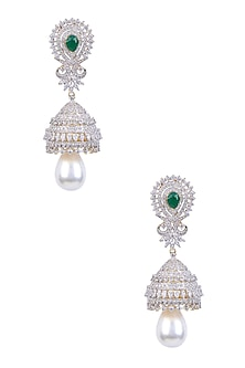 Rhodium and Gold Dual Finish Sapphire and Emerald Stone Earrings by Tanzila Rab