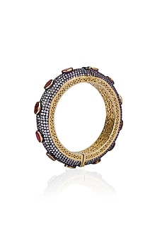 Oxidised Gold Finish Sapphires and Oval Rubies Bangle by Tanzila Rab