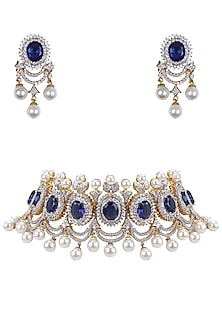 Gold Finish White and Blue Sapphire Neacklace and Earrings Set by Tanzila Rab