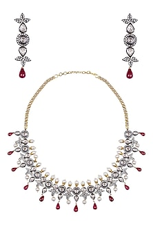 Oxidised Gold Finish White Sapphire and Tear Drop Rubies Necklace Set by Tanzila Rab