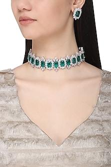 White Finish Sapphire & Emerald Adjustable Chocker Necklace Set by Tanzila Rab