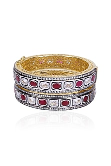 Set of Rhodium Finish Ruby and White Sapphire Bangles by Tanzila Rab