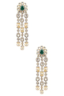 Gold Finish White Sapphire and Emerald Chandelier Earrings by Tanzila Rab