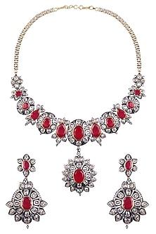 Rhodium Finish Ruby and White Sapphire Filigree Necklace Set by Tanzila Rab