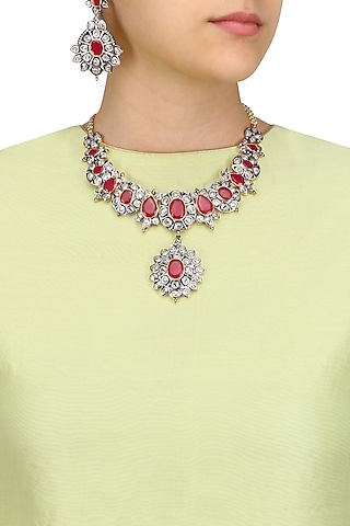 Rhodium Finish Ruby and White Sapphire Filigree Necklace Set by Tanzila Rab