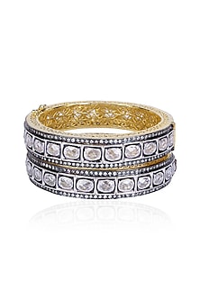 Set of Oxidised Silver Finish White Sapphire Filigree Openable Bangles by Tanzila Rab