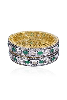 Set of Rhodium Finish Emerald and White Sapphire Bangles by Tanzila Rab