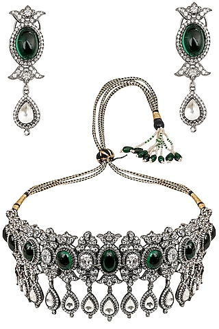 Antique Silver Finish Sapphire and Emerald Stone Necklace Set by Tanzila Rab