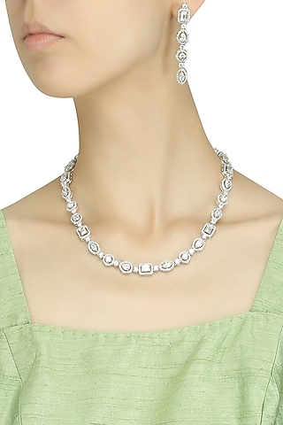 White Gold Finish Sapphire Single String Necklace Set by Tanzila Rab
