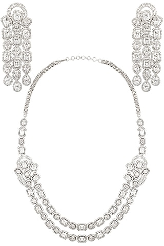 White Gold Finish Sapphire Double String Necklace Set by Tanzila Rab