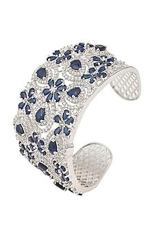 White Gold Finish Blue Sapphire Cuff by Tanzila Rab