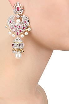 White and Gold Dual Finish Ruby and White Sapphire Earrings by Tanzila Rab