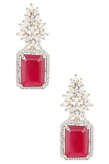 White and Gold Dual Finish Marquise White Sapphires and Ruby Earrings by Tanzila Rab