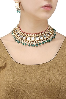 Gold Finish Kundan, Ruby and Pearl Necklace Set by Tanzila Rab