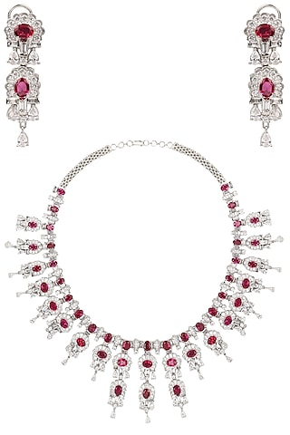 Rhodium Finish Ruby and White Sapphire Necklace Set by Tanzila Rab