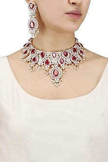 Rhodium Finish Big Ruby and White Sapphire Necklace Set by Tanzila Rab