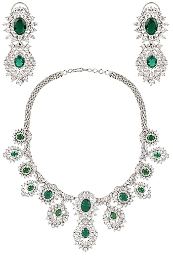 Rhodium Finish Emerald and White Sapphire Necklace Set by Tanzila Rab