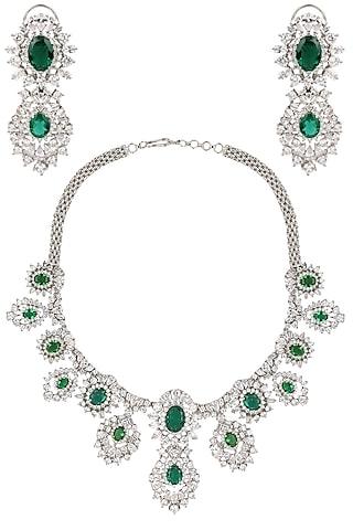 Rhodium Finish Emerald and White Sapphire Necklace Set by Tanzila Rab