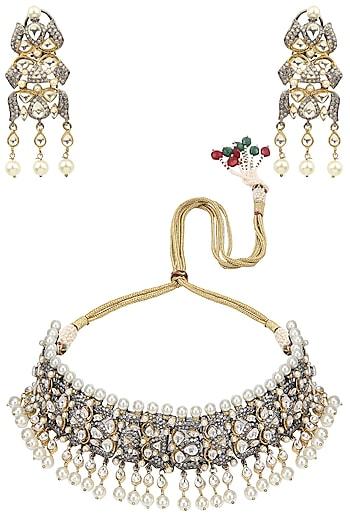 Gold Finish Kundan, Sapphire and Pearl Bridal Necklace Set by Tanzila Rab