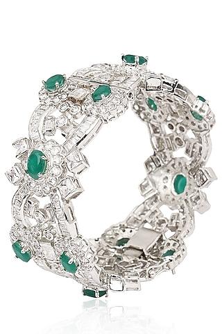 Rhodium Finish Emerald and White Sapphire Bracelet by Tanzila Rab