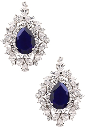 Rhodium Finish Blue and White Sapphire Studs by Tanzila Rab