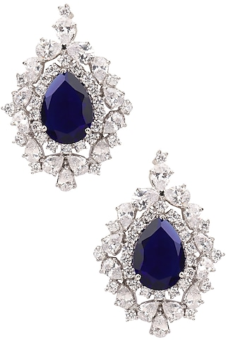 Rhodium Finish Blue and White Sapphire Studs by Tanzila Rab