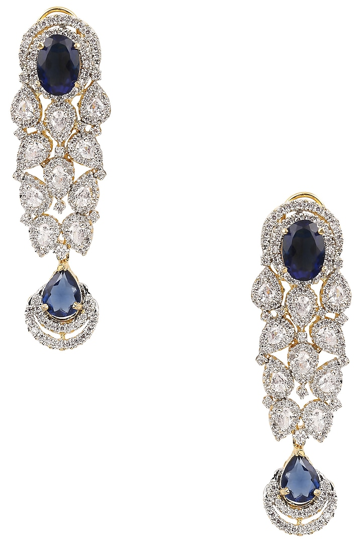 Gold Finish Blue and White Sapphire Cocktail Earrings by Tanzila Rab