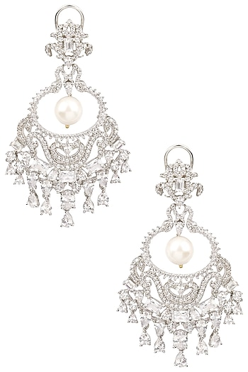 Rhodium Finish Sapphire and Pearl Cocktail Earrings by Tanzila Rab