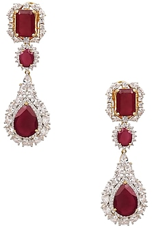 Gold Finish Ruby and White Sapphire Cocktail Earrings by Tanzila Rab