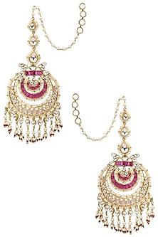 Gold Finish Kundan, Ruby and Pearl Chandbali Earrings by Tanzila Rab