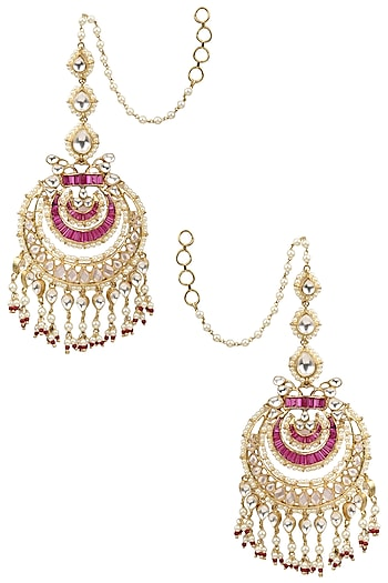 Gold Finish Kundan, Ruby and Pearl Chandbali Earrings by Tanzila Rab