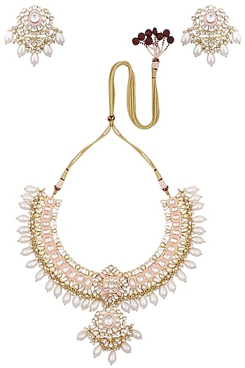 Gold Plated Pink Enameled Kundan & Shell Pearl Drop Necklace Set by Tanzila Rab