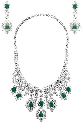 White Finish Sapphire & Emerald Adjustable Necklace Set by Tanzila Rab