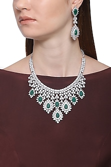 White Finish Sapphire & Emerald Adjustable Necklace Set by Tanzila Rab