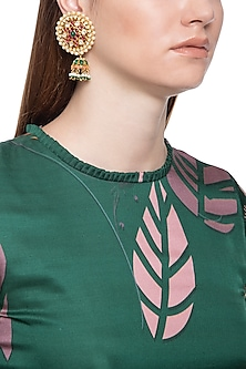 Gold plated kundan, emeralds, ruby and shell pearl earrings by Tanzila Rab