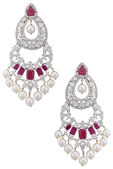 Gold plated white sapphire, ruby and shell pearl long earrings by Tanzila Rab