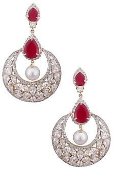 Gold plated white sapphire, ruby and shell pearl earrings by Tanzila Rab