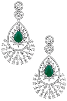 Silver plated white sapphire and emerald earrings by Tanzila Rab