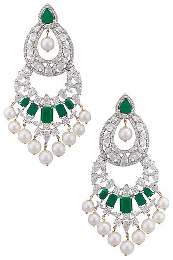 Gold plated white sapphire, emerald and shell pearl long earrings by Tanzila Rab
