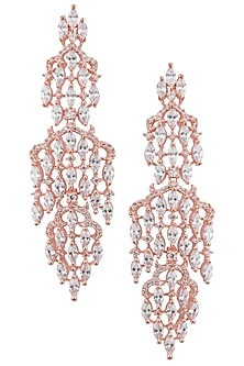Rose gold plated white sapphire earrings by Tanzila Rab