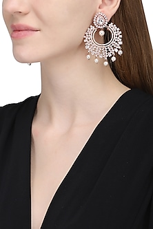 Rose gold plated white sapphire and shell pearl earrings by Tanzila Rab