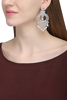 Silver plated white sapphire and shell pearl long earrings by Tanzila Rab