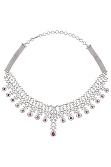 Silver plated white sapphire and ruby necklace by Tanzila Rab