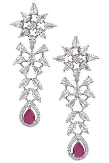 Silver plated white sapphire and ruby earrings by Tanzila Rab