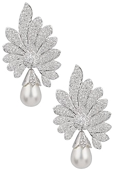 Silver plated white sapphire and shell pearl drop earrings by Tanzila Rab