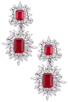 Silver plated ruby and white sapphire earrings by Tanzila Rab