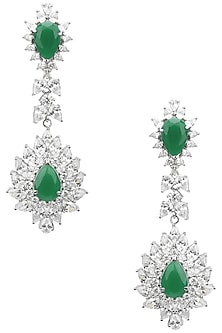 Rhodium Finish White Sapphires and Emerald Stone Earrings by Tanzila Rab