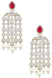 Dual Rhodium and 22K Gold Finish Dangler Earrings by Tanzila Rab