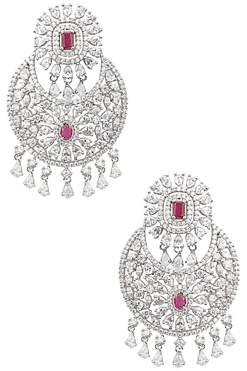 Rhodium Finish Ruby and White Sapphire Cocktail Earrings by Tanzila Rab