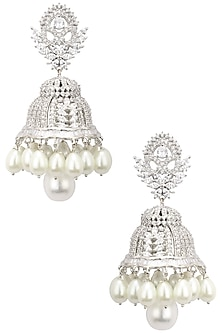 Rhodium Finish White Sapphire and Pearl Jhumkis by Tanzila Rab